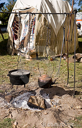 Hanging Copper Kettle and Iron Pot.