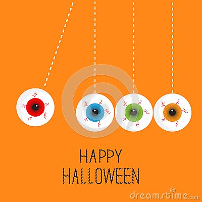 Free Hanging Eyeballs With Bloody Streaks. Perpetual Motion. Happy Halloween Orange Card. Flat Design Style. Royalty Free Stock Photography - 45125207