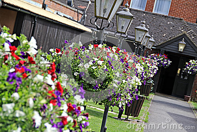 Hanging flower baskets and lamps