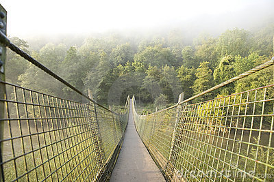 Hanging foot bridge over river