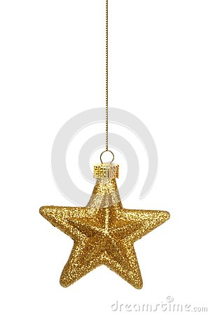 Free Hanging Gold Star Christmas Ornament Over White Royalty Free Stock Photography - 61529237