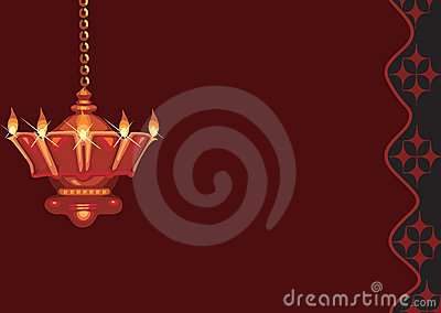 Hanging golden divine lamp