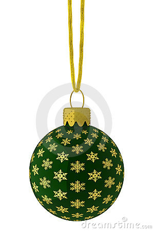 Hanging Green and Gold Snowflake Ornament