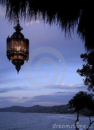 Hanging lamp in tropics