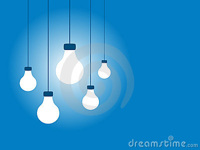 Hanging Light Bulbs on a Blue Background
