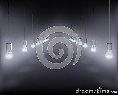 Hanging light bulbs. Vector illustration.