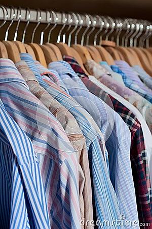 Hanging men s shirts