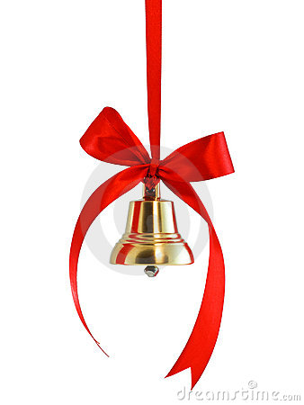 Free Hanging On A Ribbon Golden Bell Royalty Free Stock Photos - 16335828