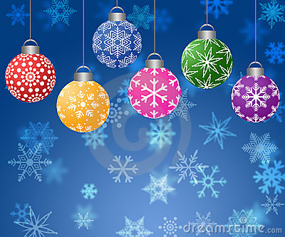 Hanging Ornaments on Blurred Snowflakes Background