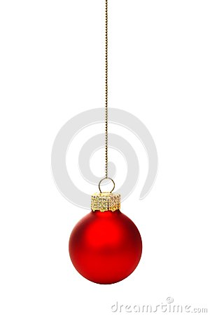 Free Hanging Red Christmas Ornament Isolated Royalty Free Stock Image - 46527926