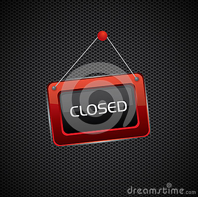 Hanging red closed sign