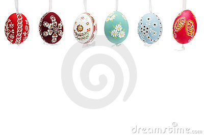 Hanging row of hand painted easter eggs