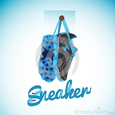 Free Hanging Sneakers With Typographic Design - Vector Stock Photo - 100395660