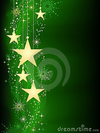 Hanging stars on green background with grunge elem