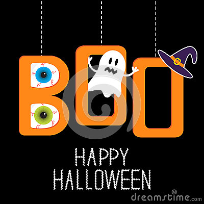 Hanging word BOO with ghost, eyeballs and witch ha