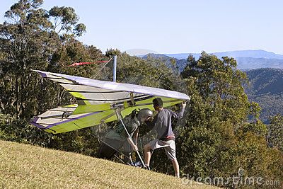 Hanglide takeoff from Mt Tamborine