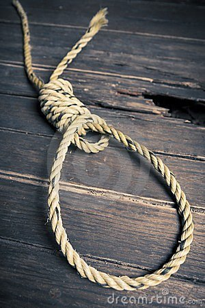 Hangman noose on the floor