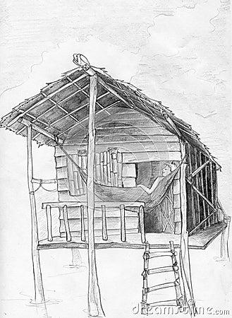 Hangmat en tropische hut
