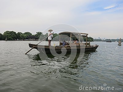 Hangzhou Leisure Boat Editorial Stock Photo