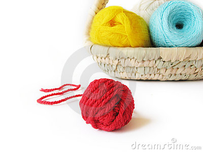 Hanks of the yarn for knitting in basket