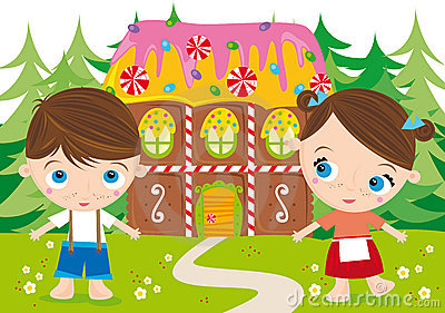 Illustration of two kids: hansel and gretel and sweet house.
