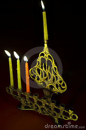 Hanuka candles in hanukkiya