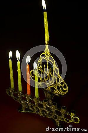 Hanuka candles in hanukkiya