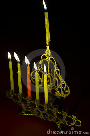 Hanuka Candles In Hanukkiya Stock Photography - Image: 1550302