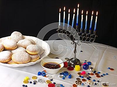 Hanuka lights and donuts