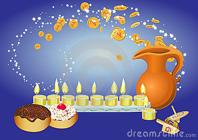 Hanukkah background with candles, donuts, oil pitc