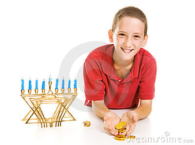 Hanukkah Boy Holding Gelt