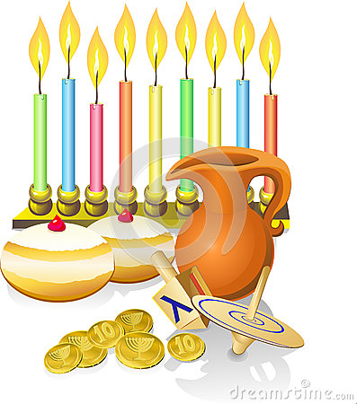 Hanukkah candles, donuts, oil pitc