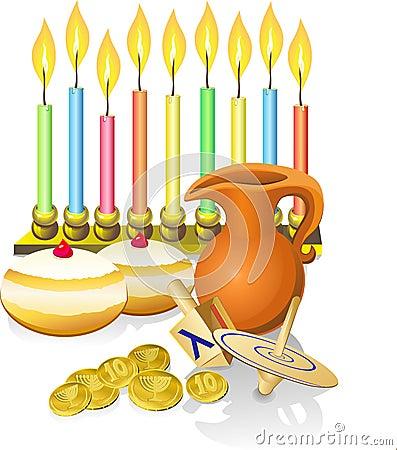 Free Hanukkah Candles, Donuts, Oil Pitc Royalty Free Stock Image - 27215476