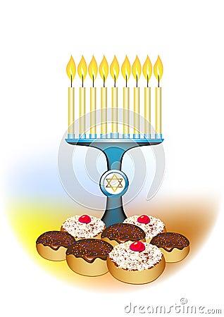 Hanukkah candles and jewish traditional donuts