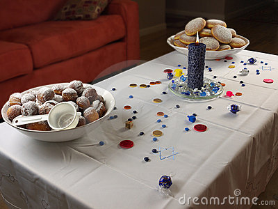 Hanukkah doughnuts and candle