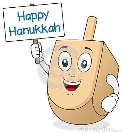 Hanukkah Dreidel Character Holding Sign