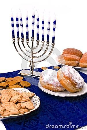 Hanukkah menorah,  donuts and coins
