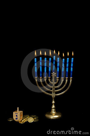 Hanukkah Menorah with a Dreidel and Gelt