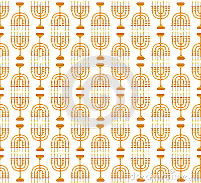 Hanukkah seamless pattern. Hanukkah background with Menorah. Vector Illustration