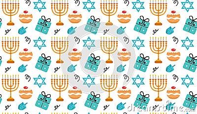 Hanukkah seamless pattern. Hanukkah background with Menorah, Sufganiyot, Dreidel. Happy Hanukkah Festival of Lights Vector Illustration