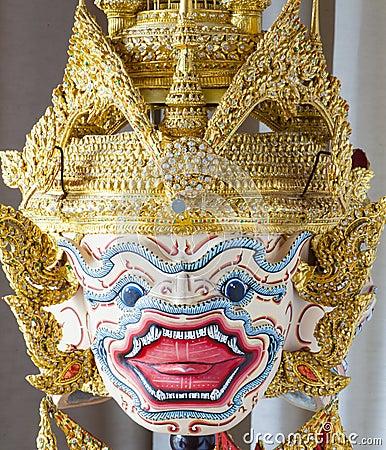 Hanuman-Maske In Thailändischer Klassischer Art Khon Von ...