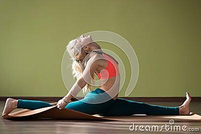 hanumanasana yoga pose stock photo  image 63172344