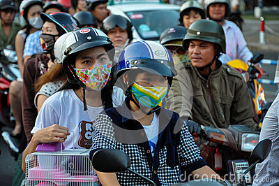 Haotic traffic in Saigon, thousands of motorbikes Editorial Image