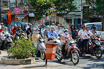 Haotic traffic in Saigon, thousands of motorbikes Editorial Stock Photo