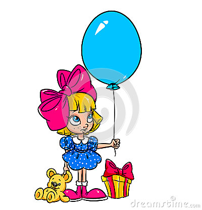 Happiness birthday gift girl cartoon