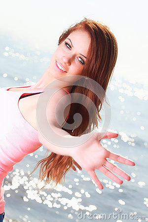 Woman happy smiling joyful Beautiful young cheerful Caucasian fe