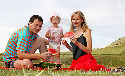 Happiness family on picnic