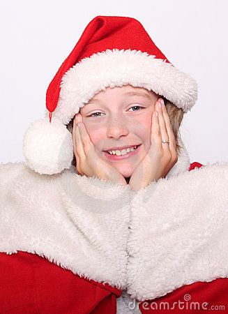 Happiness Girl in Christmas bonnet