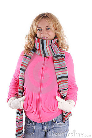 Happiness girl in warm clothes 3