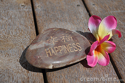 Happiness Wish Stone With Frangipani Flowers